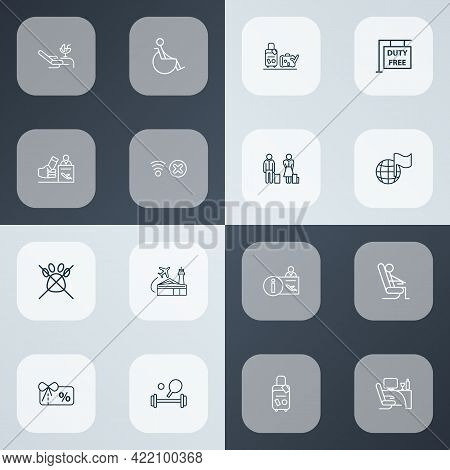 Airport Icons Line Style Set With Business Class, Registration Board, Disabled And Other Fitness Ele