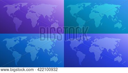 World Map Color Gradient Vector Illustration In Four Versions. Purple, Blue, Cyan, Turquoise