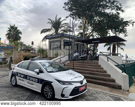 Eilat, Israel - December 07, 2020: Tourist Police Station And A Police Car On The Seafront In Eilat