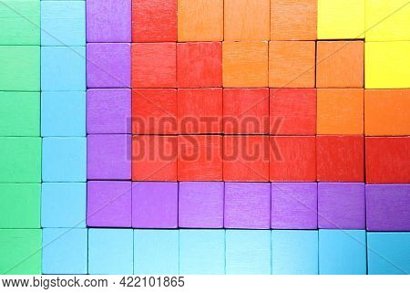 Colored Cubes Fill The Space With A Sequence Of Colors