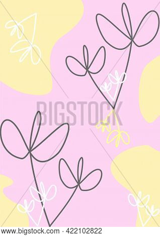The background is floral. Flowers on the background. Linear art background. Background. Lines in the