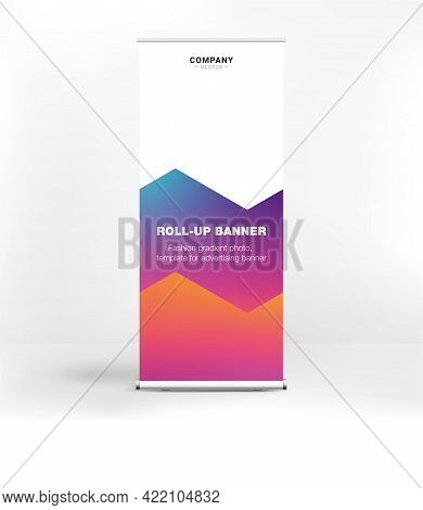 Advertising Banner With Fashionable Gradient, Roll-up Banner, Stand For Conferences And Seminars, We
