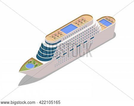 Cruise Liner With Swimming Pools And Lounge Zone Isometric Icon Vector Illustration