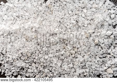 Selective Focus. Food Background. Coarse Sea Salt In Crystals. White Color, Stone. Top View, With De