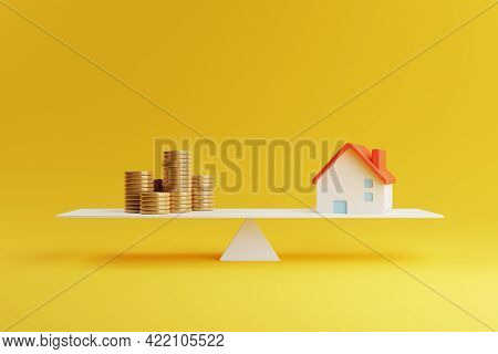 House And Coin On Balancing Scale On Yellow Background. Real Estate Business Mortgage Investment And
