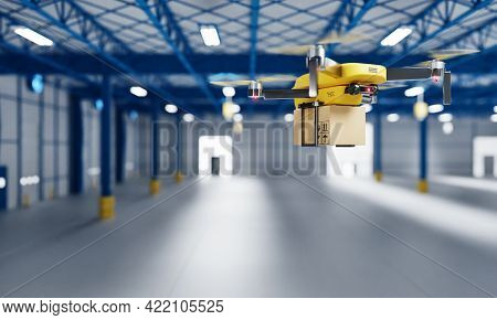 Delivery Drone Transferring Parcel Into Empty Storage As Business Startup Factory Or Shipping Compan