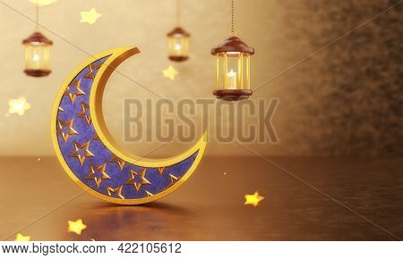 Eid Mubarak Islamic Design With Hollow Crescent Moon On Golden Bokeh Background. Festival And Tradit