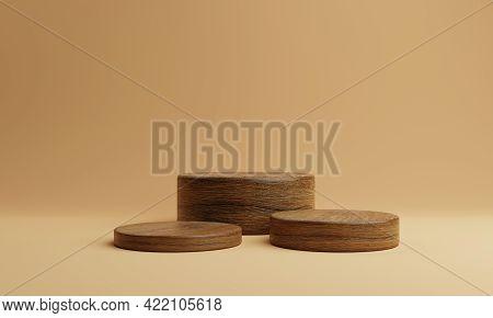 Three Brown Wooden Round Cylinder Product Stage Podium On Orange Background. Minimal Fashion Theme.