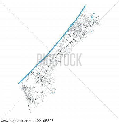 Gaza Strip Map. Detailed Map Of Administrative Area, Land Panorama. Royalty Free Vector Illustration