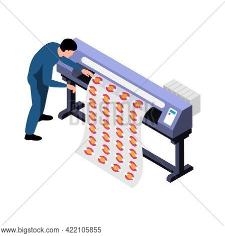 Polygraphy Isometric Icon With Character Of Worker And Plotter On White Background Vector Illustrati