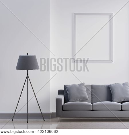 Luxury Modern Interior Of White And Gray Tone Living Room Home Decor Concept Background. Three Legs