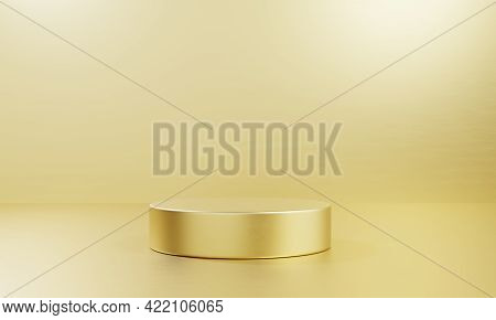Golden One Cylinder Product Stage Podium Table On Shiny Background. Abstract Minimal Fashion Theme.