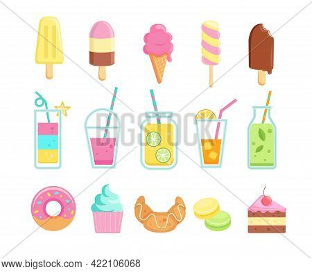Set Of Tasty Sweet Summer Drinks And Food Icons.ice Cream With Different Tasties, Lemonade, Detox, S