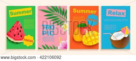Set Of Summer Flyers, Cards With Tropical Themes Ans Fruits.bright And Gentle Hot Season Banners And