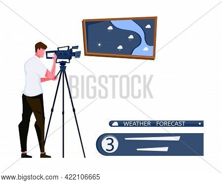 Weather Forecast Tv Studio With Cameraman And Map Flat Vector Illustration
