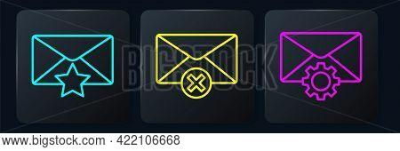 Set Line Envelope With Star, Envelope Setting And Delete Envelope. Black Square Button. Vector