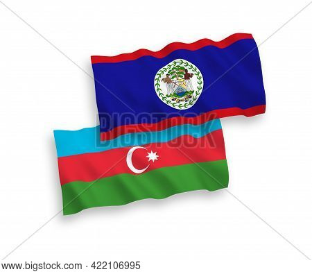 National Fabric Wave Flags Of Belize And Azerbaijan Isolated On White Background. 1 To 2 Proportion.