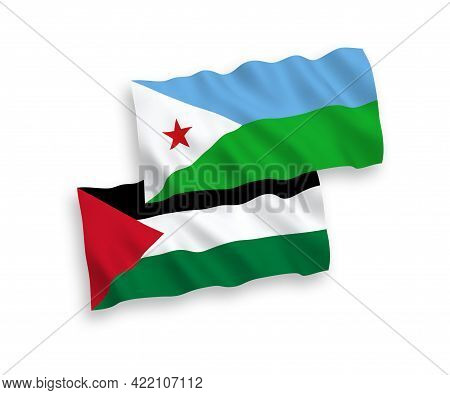 National Fabric Wave Flags Of Republic Of Djibouti And Palestine Isolated On White Background. 1 To