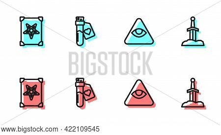 Set Line Masons, Ancient Magic Book, Bottle With Love Potion And Sword In The Stone Icon. Vector