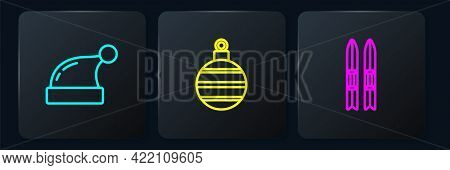 Set Line Christmas Santa Claus Hat, Ski And Sticks And Ball. Black Square Button. Vector