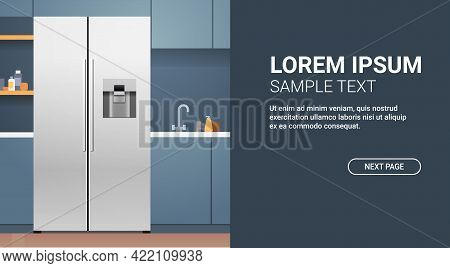 Side By Side Refrigerator In Modern Kitchen Interior Home Appliance Concept Horizontal Copy Space