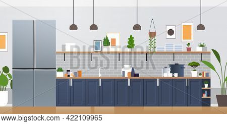 Silver Side By Side Refrigerator In Modern Kitchen Interior Home Appliance Concept Horizontal