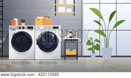 Interior Of Laundry Room With Washing Machines Electric Washers Home Appliance Concept Horizontal