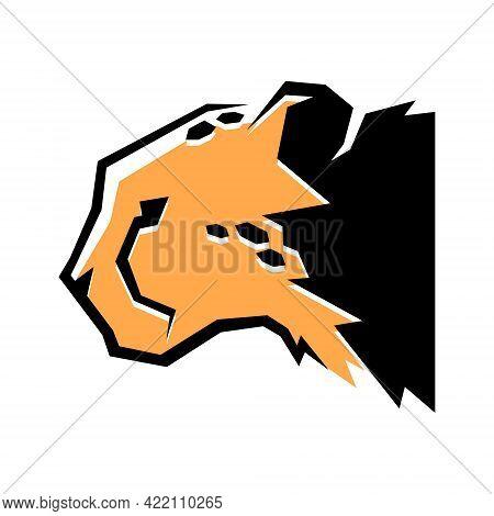 Cheetah Head Side View Portrait Symbol On White Backdrop. Design Element