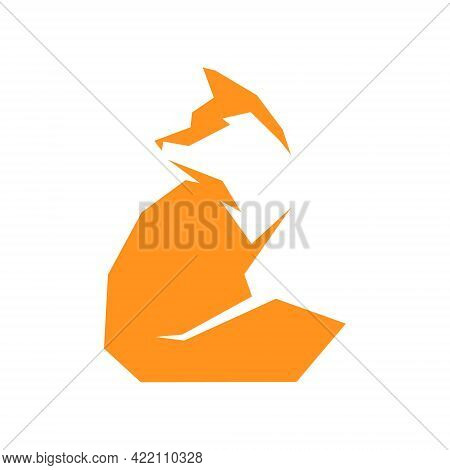 Sitting Red Fox Side View Symbol On White Backdrop. Design Element