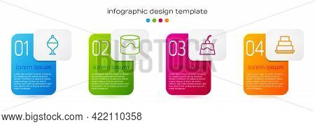 Set Line Ice Cream In Bowl, Cake, Pudding Custard And . Business Infographic Template. Vector