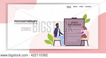 Male Psychotherapist Consulting Depressed Girl Patient During Psychotherapy Session Child Psychology