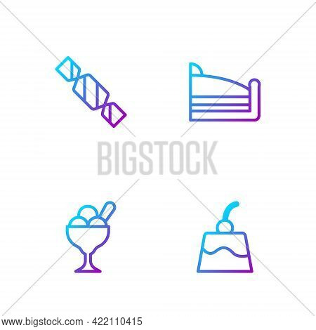 Set Line Pudding Custard, Ice Cream Bowl, Candy And Piece Of Cake. Gradient Color Icons. Vector