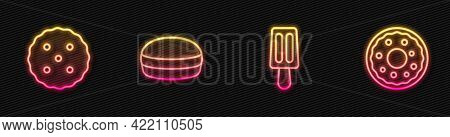 Set Line Ice Cream, Cookie Or Biscuit, Macaron Cookie And Donut. Glowing Neon Icon. Vector