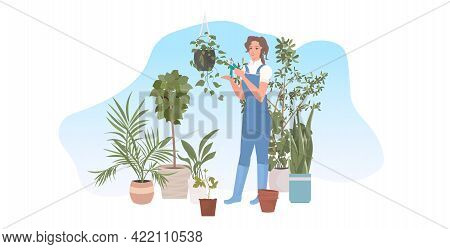 Female Gardener Using Pruners Cutting Houseplants Garden Work With Branches And Foliage