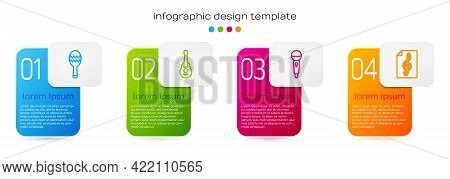 Set Line Maracas, Guitar, Microphone And Treble Clef. Business Infographic Template. Vector