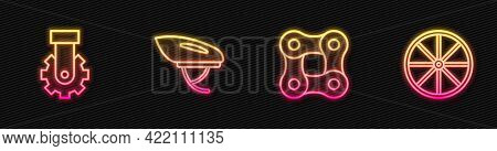 Set Line Bicycle Chain, Derailleur Bicycle Rear, Helmet And Wheel. Glowing Neon Icon. Vector