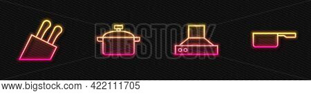 Set Line Kitchen Extractor Fan, Knife, Cooking Pot And Saucepan. Glowing Neon Icon. Vector
