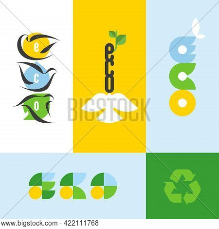Ecology Concept With Lettering Eco And Design Elements Of Nature. Flat Style Vector Illustration For