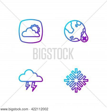 Set Line Snowflake, Storm, Weather Forecast And Water Drop Percentage. Gradient Color Icons. Vector