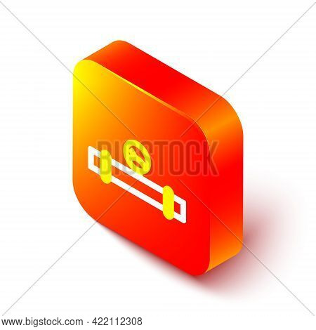 Isometric Line Industry Metallic Pipe And Manometer Icon Isolated On White Background. Orange Square