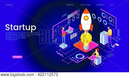 Startup Management Isometric Concept Banner