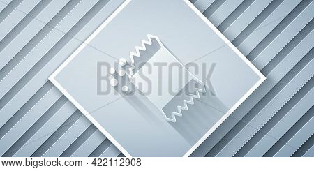Paper Cut Packet Of Pepper Icon Isolated On Grey Background. Paper Art Style. Vector