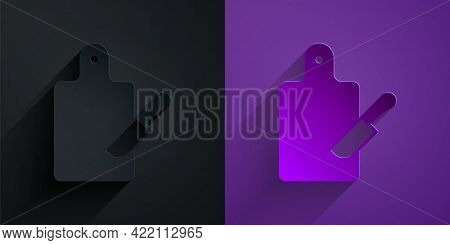 Paper Cut Cutting Board And Knife Icon Isolated On Black On Purple Background. Chopping Board Symbol