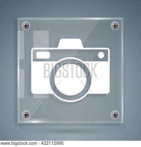 White Photo Camera Icon Isolated On Grey Background. Foto Camera Icon. Square Glass Panels. Vector
