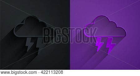 Paper Cut Storm Icon Isolated On Black On Purple Background. Cloud And Lightning Sign. Weather Icon