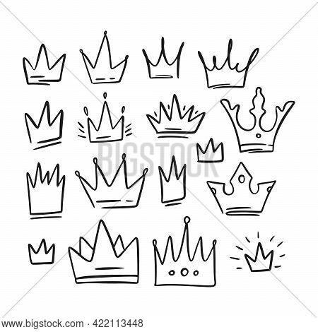 Doodle Black Simple Crown Queen Sketch Set. King Icon Illustration Design. Vector Princess Graphic.
