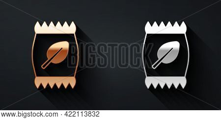 Gold And Silver Fertilizer Bag Icon Isolated On Black Background. Long Shadow Style. Vector