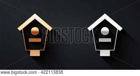 Gold And Silver Bird House Icon Isolated On Black Background. Nesting Box Birdhouse, Homemade Buildi