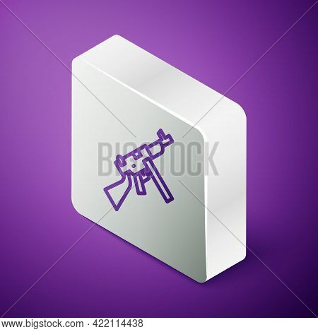 Isometric Line Thompson Tommy Submachine Gun Icon Isolated On Purple Background. American Submachine