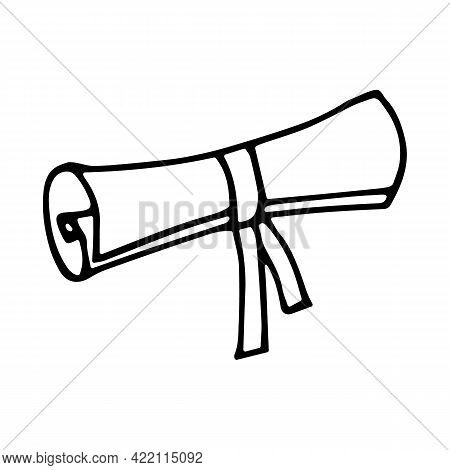 Scroll Tied With A Ribbon In Doodle Style. Hand Drawn Vector Manuscript. Illustration Isolated On Wh